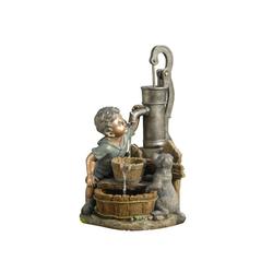 Dehner Gartenbrunnen Junge mit LED, 68.5 x 37 x 39 cm, Polyresin