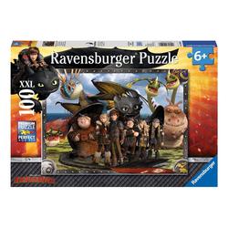 Ravensburger Puzzle Dragons, Ohnezahn und seine Freunde, 100 Puzzleteile, Made in Germany, FSC® - schützt Wald - weltweit