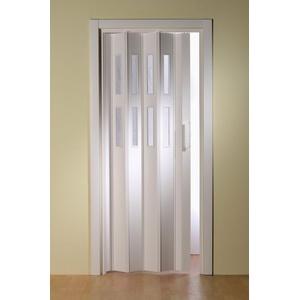 Kunststoff-Falttür Luciana, Weiß mit Fenstern in Riffelstruktur weiß