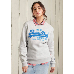Superdry Sweater VL CHENILLE CREW mit 3D Chenille Print grau L