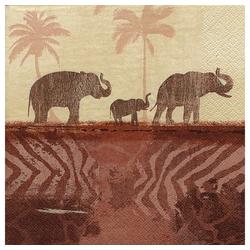 Linoows Papierserviette 20 Servietten Afrika, Aquarell Landschaft mit, Motiv Afrika, Aquarell Landschaft mit Elefanten