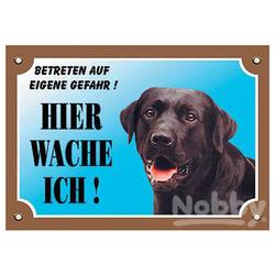 Nobby Warntafel Labrador dunkel mit offenem Maul