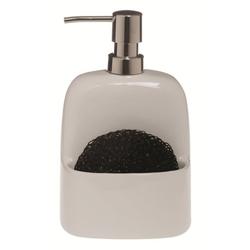spirella Spülmittelspender BRIDGET, (Komplett-Set, 2-tlg;. Spender inkl. Spülschwamm), Spülmittel / Seifenspender aus exklusivem Material Dolomit, Aufbewahrungsfach für Spülschwämme, inkl. Spülschwamm aus Polypropylen, 380 ml, Behälter weiß Schwamm schwarz weiß