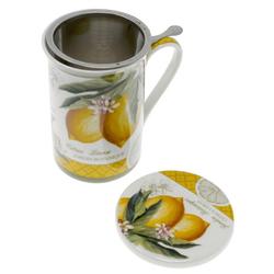 Lashuma Tasse Zitrone, Porzellan, Teetasse mit Untersetzer und Sieb, Porzellan Trinkbecher 300 ml gelb