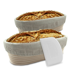 riijk Gärkorb Gärkorb inkl. Gratis Teigschaber, (Inhalt), Gärkorb 2er Set + Teigschaber, 2 Gärkörbe für Brot und Brotteig - Peddigrohr (oval, 28 und 35 cm) mit Leineneinsatz, rostfrei geklammert