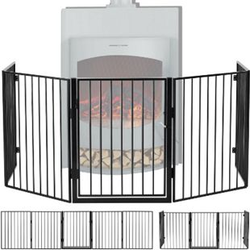 Juskys Metall Kaminschutzgitter 300 x 76 cm klappbar – Schutzgitter für Tiere – inkl. Tür
