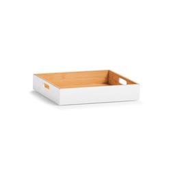 HTI-Living Aufbewahrungsbox Aufbewahrungskiste Bambus weiß, Aufbewahrungskiste 27 cm x 6 cm