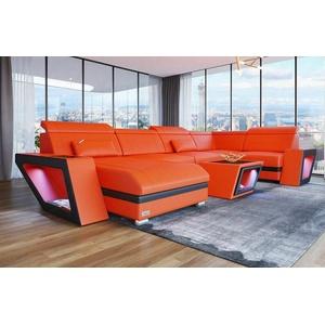 Sofa Wohnlandschaft Ecksofa Couch CATANIA U Form orange schwarz Leder Ottomane