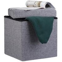 Relaxdays Stauraumhocker Faltbarer Sitzhocker mit Stauraum Leinen dunkelgrau