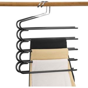 Hosenbügel Mehrfach Platzsparend,Stabil, rutschfeste Polsterung, Edelstahl Hosen Jeans Schal Kleiderbügel für Krawatte Schal Hose (2 Stück)