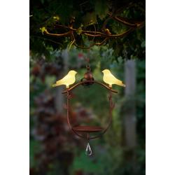IC Gardenstyle Vogeltränke Solar Vogeltränke mit LED Vogelpaar, hängend, hängend, aus Metall, Vogel-Figur mit warm-weißer LED Beleuchtung, kabellos, solarbetrieben
