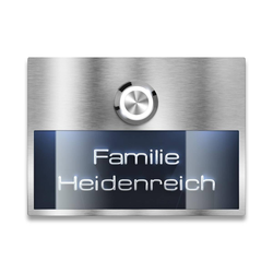 Türklingel Edelstahl - mit beleuchtetem Namensschild