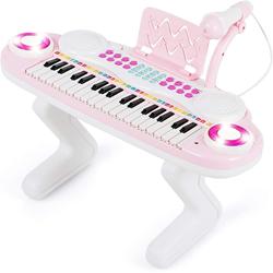 COSTWAY Keyboard Kinder Keyboard, 37 Tasten Klaviertastatur mit Licht, Klavier Spielzeug elektronisch mit Ständer, Musikinstrument mit Aufnahme- und Abspiel-Funktion