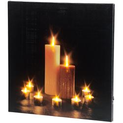 """Wandbild """"Kerzenlicht"""" mit flackernder LED-Beleuchtung, 40 x 40 cm"""