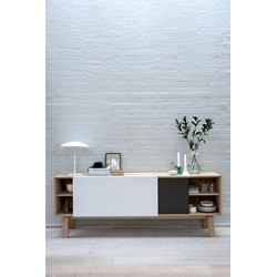 ebuy24 Sideboard Miso Sideboard mit 2 Schiebetüren in Stahlgrau und