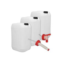 Plasteo Kanister plasteo 3er Stück Set: 25 Liter Getränke- Wasserkanister Natur mit Hahn, 3 Kanister + Hahn + Ausgießer