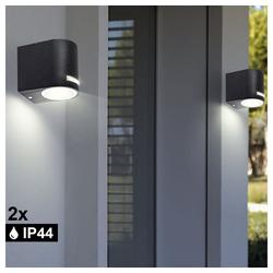 etc-shop LED Wandleuchte, 2er Set Außen Lichter Wand Strahler ALU schwarz Down Beleuchtungen Lampen Spot Strahler Leuchten
