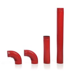 acerto® Ofenrohr Ofenrohr-Set, 120 mm Durchmesser, rot