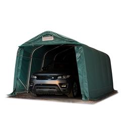 Toolport Zeltgarage 3,3x4,8m PVC 550 g/m² dunkelgrün wasserdicht Garagenzelt
