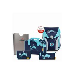 DerDieDas® Schulranzen Ergoflex Max Schulranzen Set 5tlg. 39 cm blau