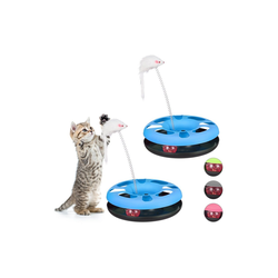 relaxdays Tier-Kugelbahn 2 x Katzenspielzeug mit Maus blau, Kunststoff