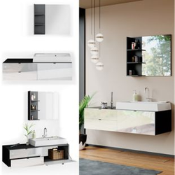 Vicco Badmöbel Set Bora Spiegelschrank Badspiegel Waschtisch mit Waschbecken Bad