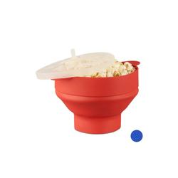 relaxdays Popcornmaschine Popcorn Maker Silikon für die Mikrowelle rot