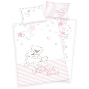 Babybettwäsche Kleiner Lieblingsmensch - Baby-Bettwäsche-Set für Mädchen von Herding, 100x135 & 40x60 cm, Baby Best, 100% Baumwolle