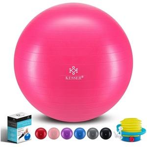 KESSER Gymnastikball, Fitness Ball Gymnastik mit Luftpumpe dicker Yogaball BPA-frei Sitzball Anti-Burst rosa 55 cm