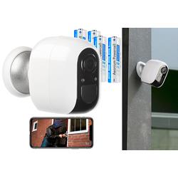 IP-Überwachungskamera mit 4 Akkus, Full HD, WLAN & App, IP54