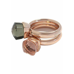 qudo Ring-Set Firenze, O600037, O600039, O600040, O600042 (Set, 2-tlg), mit Zirkonia grün 50
