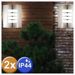 etc-shop LED Wandleuchte, 2er Set Außen Wand Leuchte Fassaden Lampe Grundstück Gartenhaus Beleuchtung IP44