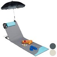 Relaxdays Gartenliege Strandmatte, mit Sonnenschirm,