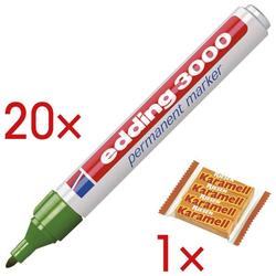 20x Permanent-Marker »3000« inkl. 1x Karamellbonbons »Karamell Riesen« grün, Edding