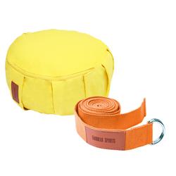 Yoga Set Gelb/Orange inkl. Yogakissen und Yogagurt