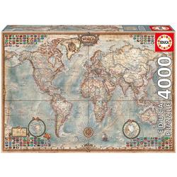 Educa Puzzle DIE WELT - POLITISCHE KARTE, 4000 Puzzleteile