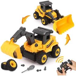 BeebeeRun Spielzeug-Bagger 2 in 1 Montage Spielzeug, DIY Lastwagen Spielzeug Geschenk gelb