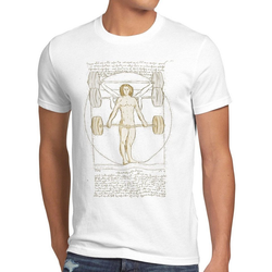 style3 Print-Shirt Herren T-Shirt Vitruvianischer Mensch mit Langhantel kreuzheben fitnesstudio weiß M