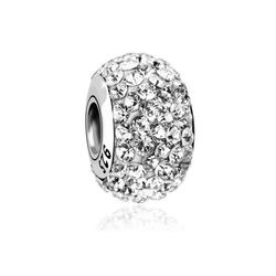 Nenalina Charm-Einhänger Kugel Bead Violett Kristalle 925 Silber weiß