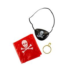 Pirat Kostüm Accessoire Set für Kinder Jungs Piraten Party - Augenklappe + Kopftuch + Ohrring