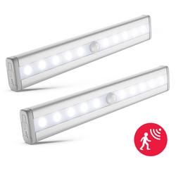 B.K.Licht LED Unterbauleuchte Apollo, LED Schrankbeleuchtung Nachtlicht Bewegungsmelder Schrankbeleuchtung Selbstklebend 2er Set