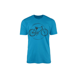 Sinus Art T-Shirt Vintage Herren T-Shirt Fahrrad blau L