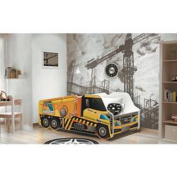 Autobett LKW inkl. Lattenrost und Matratze, gelb, 70 x 140 cm