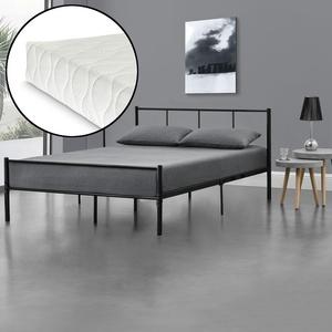 [en.casa] Metallbett 140x200 Mit Matratze Schwarz Bettgestell Design Bett Metall