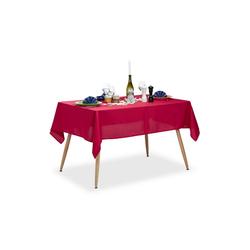 relaxdays Tischdecke Tischdecke wasserabweisend in 3 Farben rot 140 cm x 180 cm x 1 mm