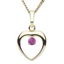 Kette mit Anhänger - Herz 12 mm - Gold 333/000 - sy. Rubin Halsketten gelb Gr. 36,0 Mädchen Kinder