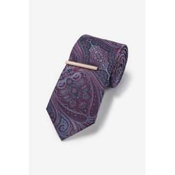 Next Krawatte Gemusterte Krawatte mit Krawattenklammer (2-St)