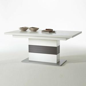 Esstisch Trento Säulentisch Tisch ausziehbar weiß und grau 180-280x100 cm