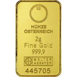 2 g Goldbarren Münze Österreich