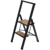 WENKO Alu-Design Klapptrittleiter 2 Stufen schwarz